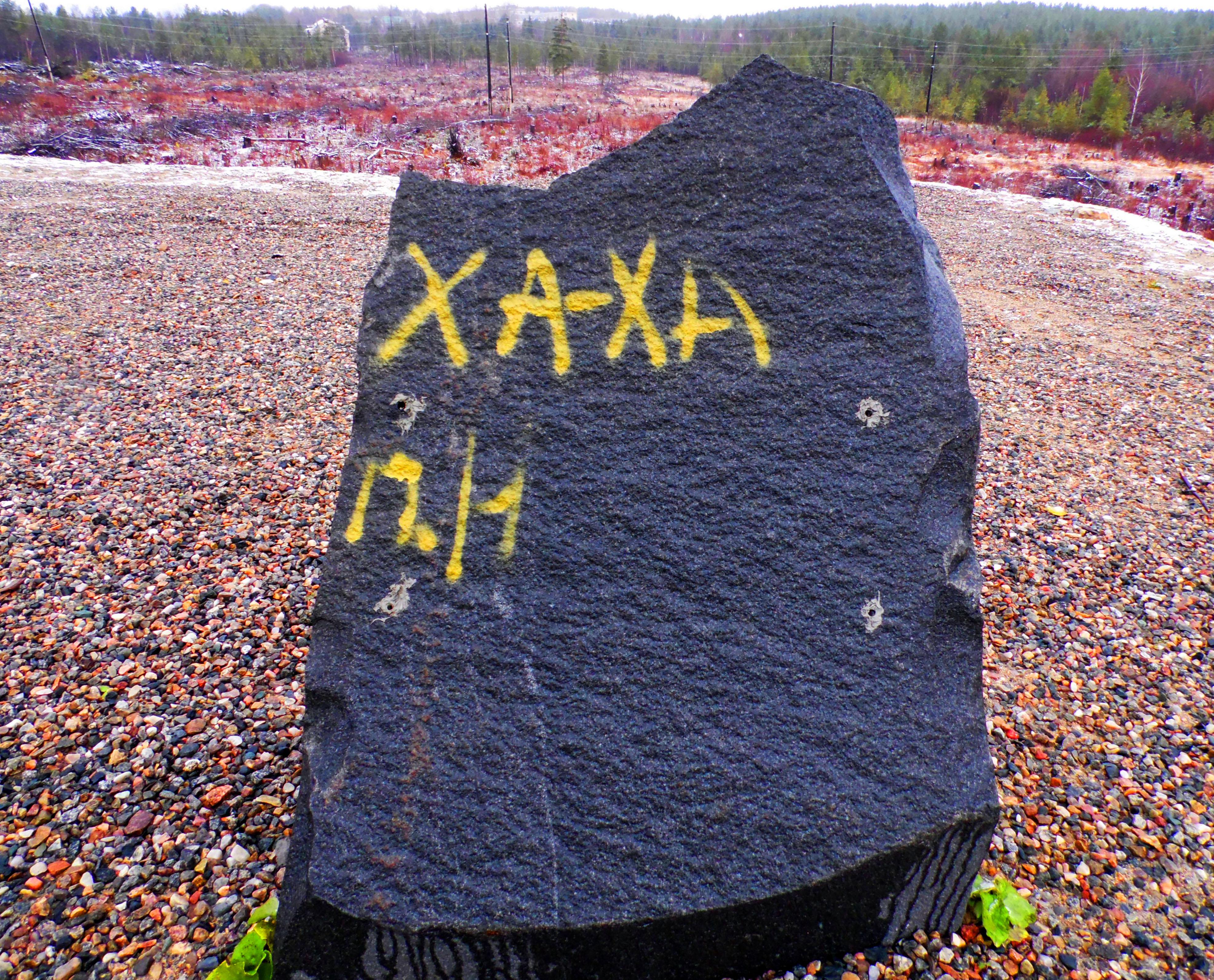 Памятной таблички на символическом камне, заложенном на месте строительства промышленного парка в Надвоицах, больше нет. Фото: Алексей Владимиров
