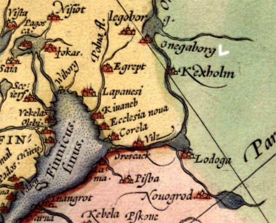 Онегаборг на карте Ортелиуса