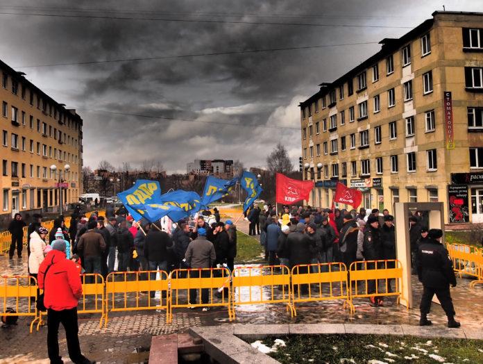 Пикет на Студенческом бульваре в Петрозаводске. Фото: Валерий Поташов