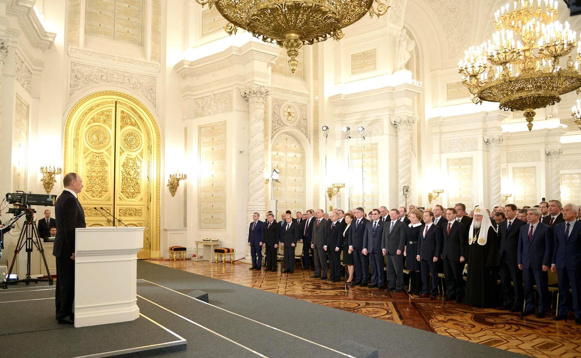 Президент РФ выступает с посланием Федеральному Собранию. Фото: президент.рф