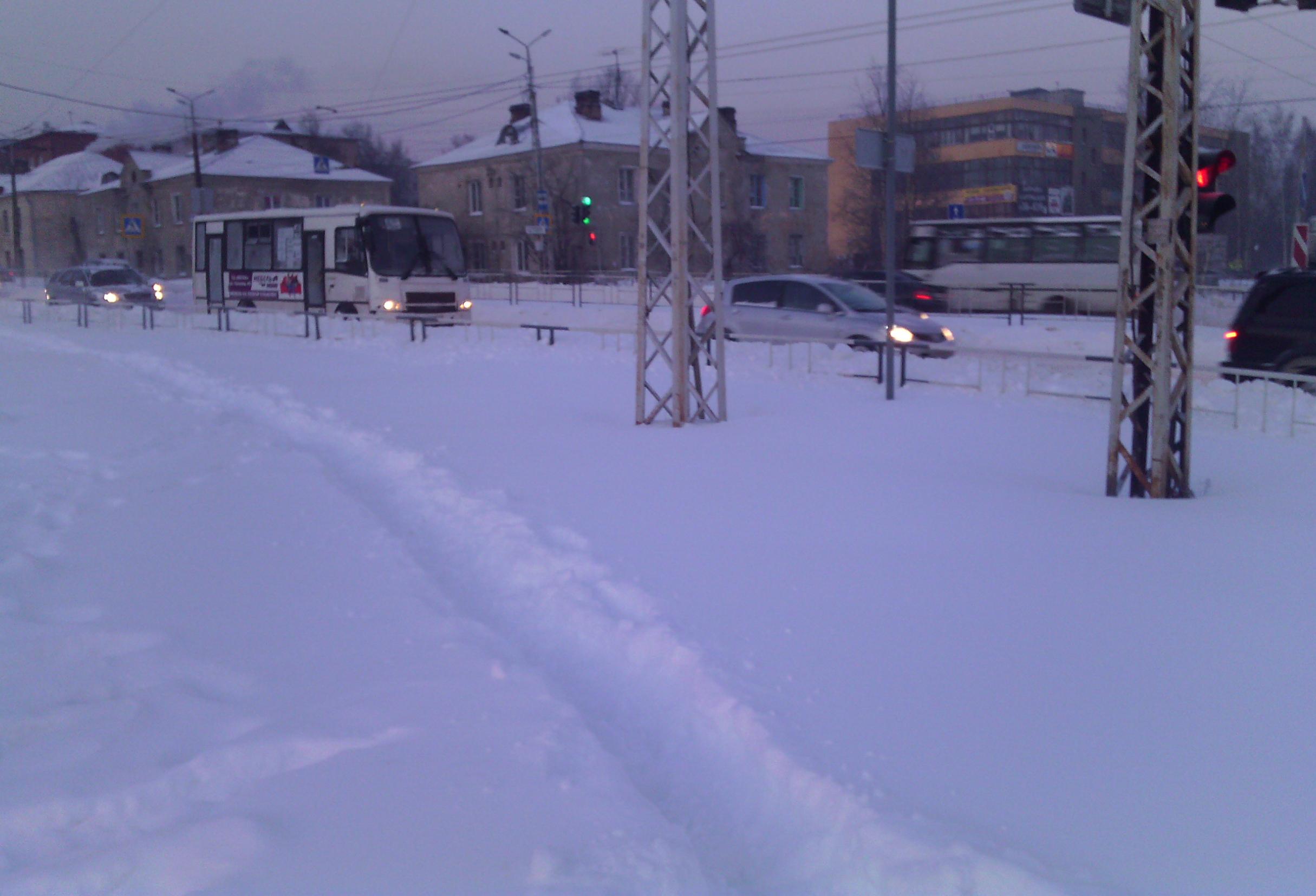 Жители карельской столицы вынуждены сами протаптывать себе путь в снегу. Фото: Валерий Поташов