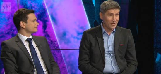 Илья Яшин и Василий Попов в эфире финской телекомпании Yle. Фрагмент программы