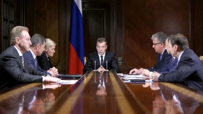 Дмитрий Медведев на совещании с премьерами. Фото: правительство.рф