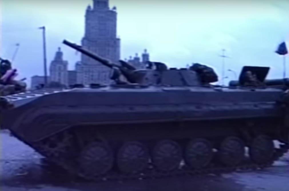 Бронетехника на улицах Москвы. Скрин канала Youtube