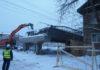 Демонтаж старого путепровода в Петрозаводска идет прямо под окнами жилых домов. Фото: Валерий Поташов