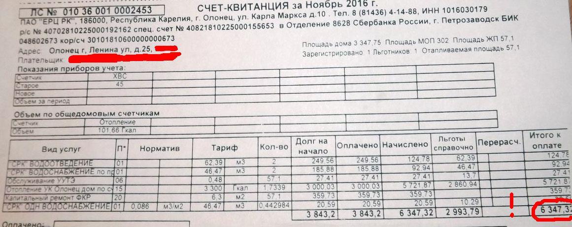 Счет за тепло, который получила по итогам ноября одна из олонецких льготниц
