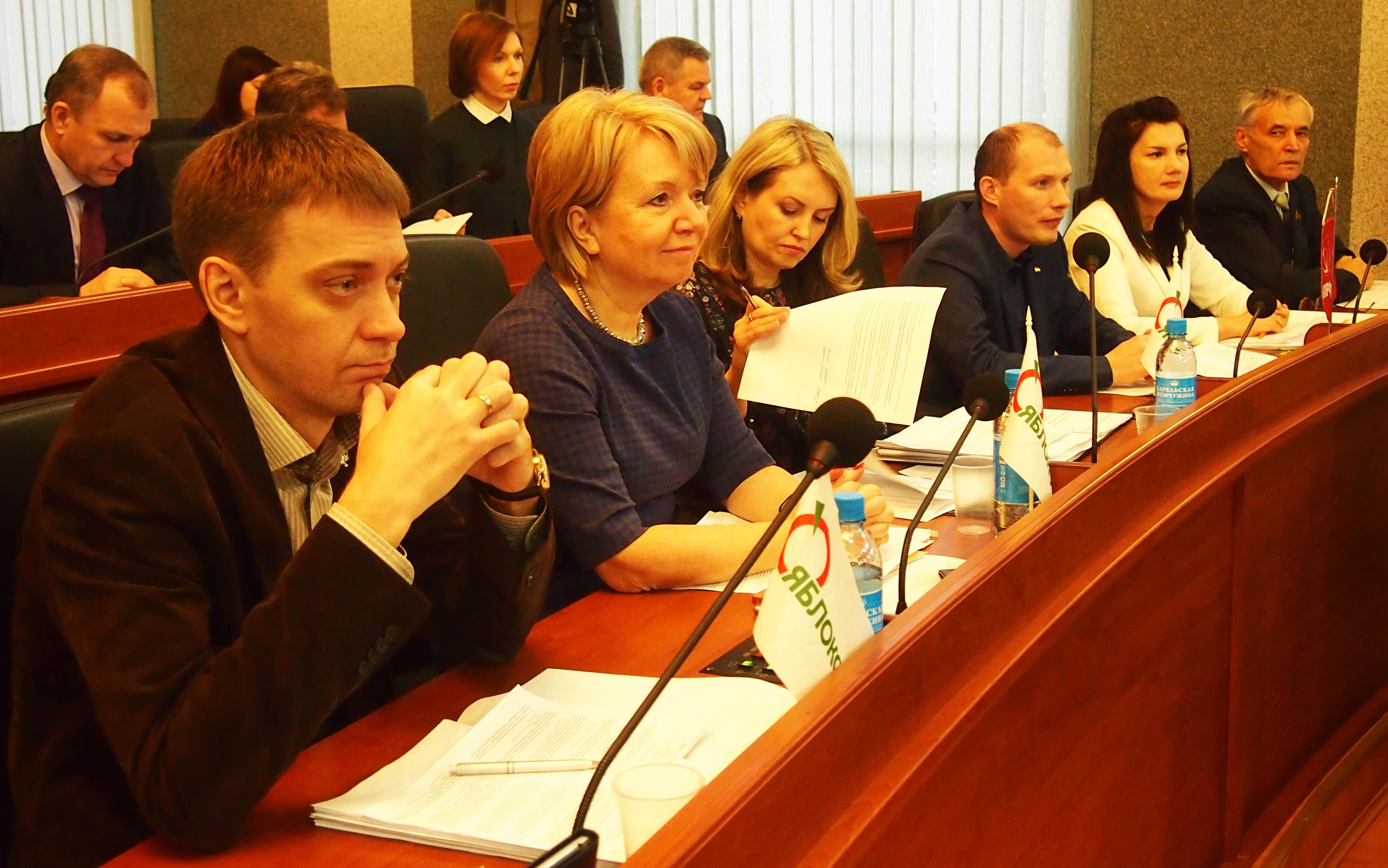 Эмилия Слабунова на заседании карельского парламента. Фото: Валерий Поташов