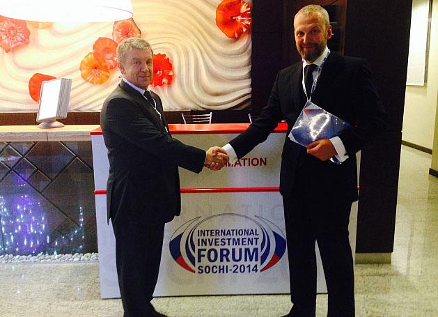 Глава Карелии Александр Худилайнен и эстонский бизнесмен Айво Халлист в Сочи. Фото: gov.karelia.ru