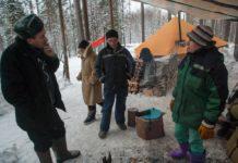 Защитники Сунского бора в зимнем лагере. Фото: Игорь Подгорный