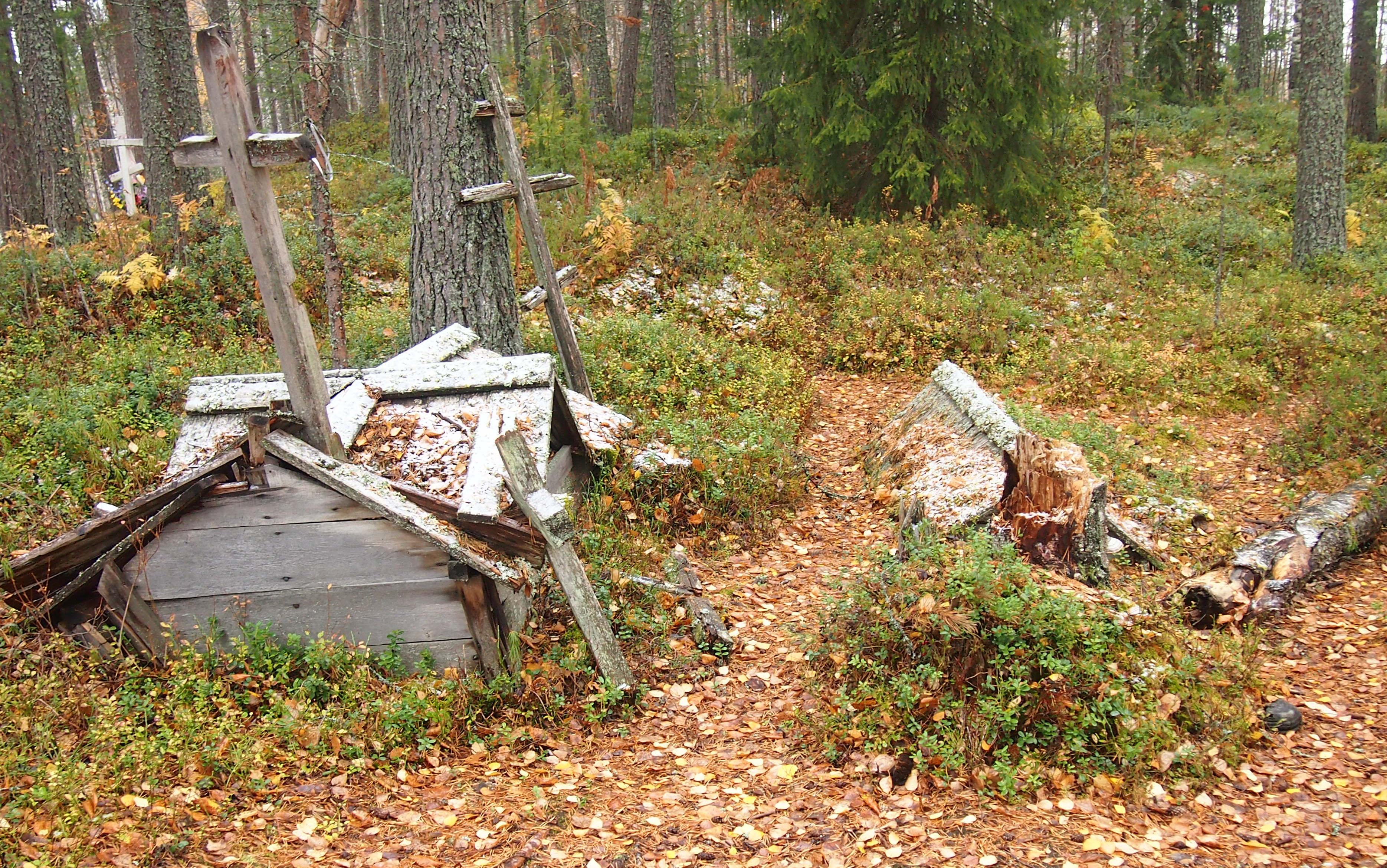 Традиционные карельские захоронения в окрестностях Вокнаволока. Фото: Валерий Поташов