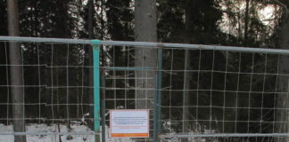 """Этот забор ограждает территорию элитного охотхозяйства """"Черные камни"""" в карельском приграничье. Фото: openbereg.ru"""
