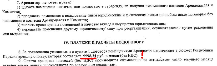 Стоимость арендной платы за депутатскую столовую по договору оказалась всего 5,6 тысячи рублей в месяц