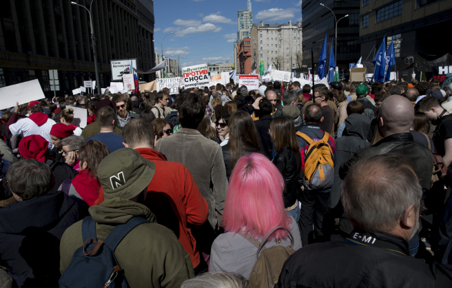 На митинге против реновации. Фото: yabloko.ru