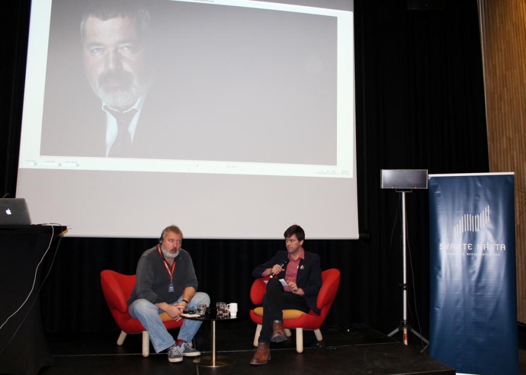 Дмитрий Муратов выступает на журналистской конференции в Тромсе. Фото: Валерий Поташов