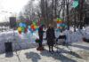 Эмилия Слабунова на митинге в Останкино. Фото: yabloko.ru